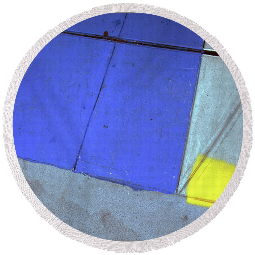 Pavements Round Beach Towel featuring the photograph Blue And Yellow by Guy Ciarcia