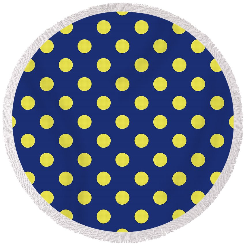 Blue Round Beach Towel featuring the mixed media Blue And Yellow Polka Dots- Art By Linda Woods by Linda Woods