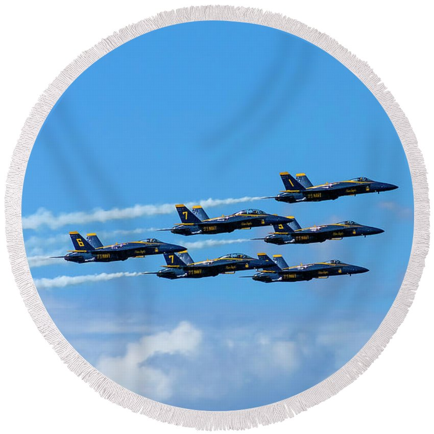 Blue Angels Round Beach Towel featuring the photograph Blue Angels IIi by Greg Reed