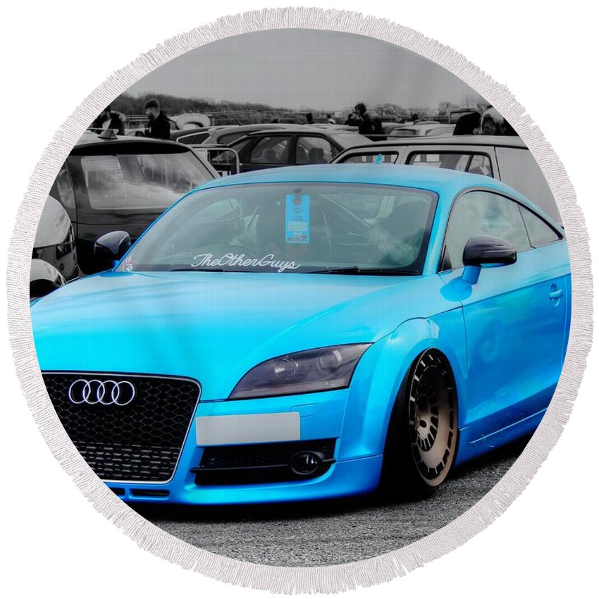 Blue Round Beach Towel featuring the photograph Blue Audi by Vicki Spindler