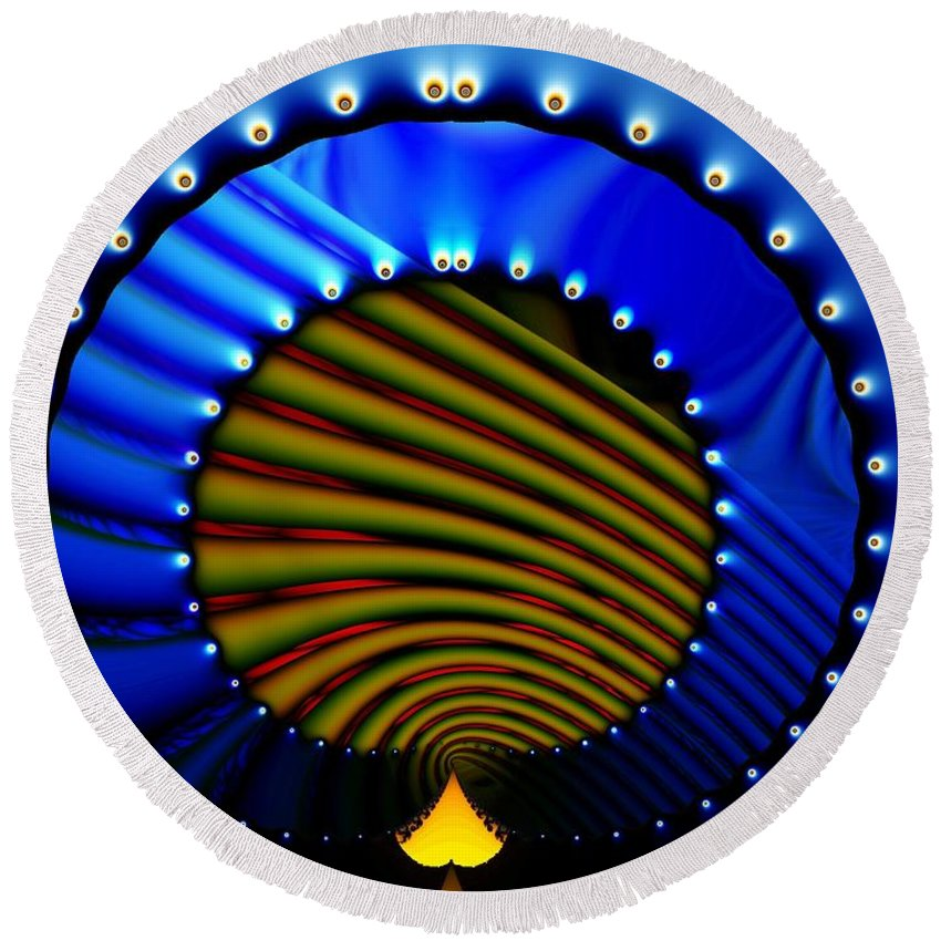 Bale Ringe Round Beach Towel featuring the digital art Blue Bale Ringe by Ron Bissett