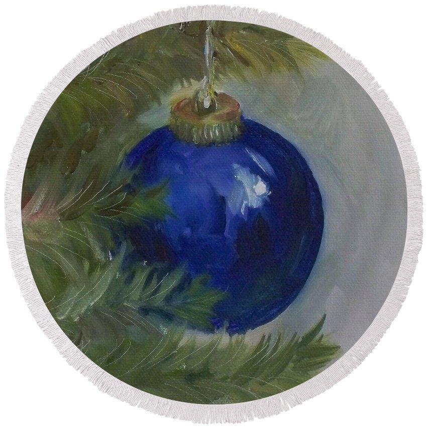 Ball Round Beach Towel featuring the painting Blue Ball On Christmas Tree by Kristine Kainer
