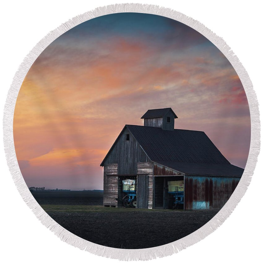 Landscape Round Beach Towel featuring the photograph Blue Barn by David Jilek