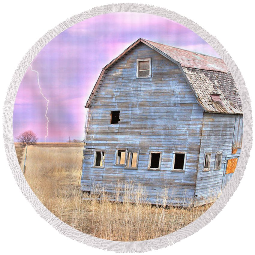 Barns Round Beach Towel featuring the photograph Blue Barn by James BO Insogna