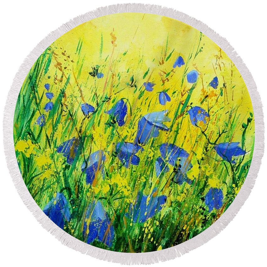 Poppies Round Beach Towel featuring the painting Blue Bells by Pol Ledent