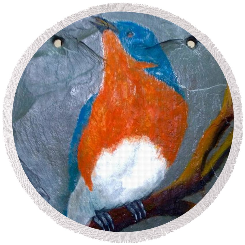 Blue Bird On Tree Painted On Slate Tile With Oil Sealed For Indoor Or Outdoor Decor. Round Beach Towel featuring the painting Blue Bird On Slate by Gino Didio