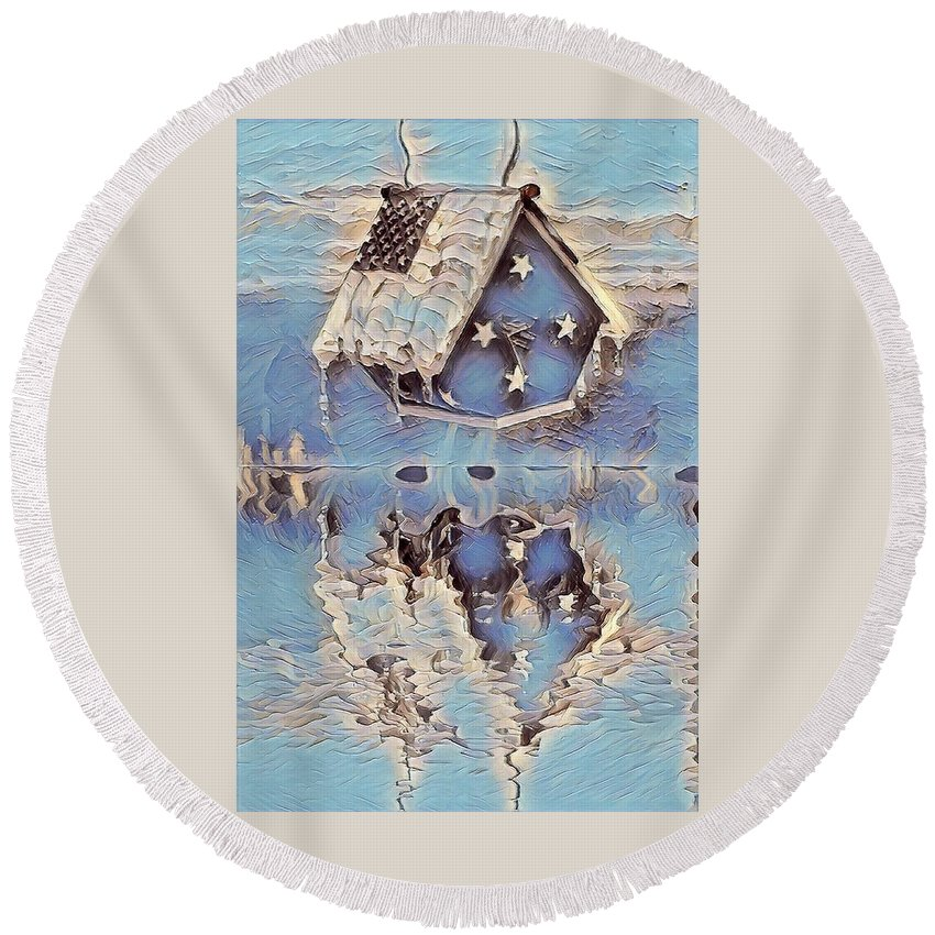 Birdhouse Round Beach Towel featuring the digital art Blue Birdhouse by Brenda Plyer