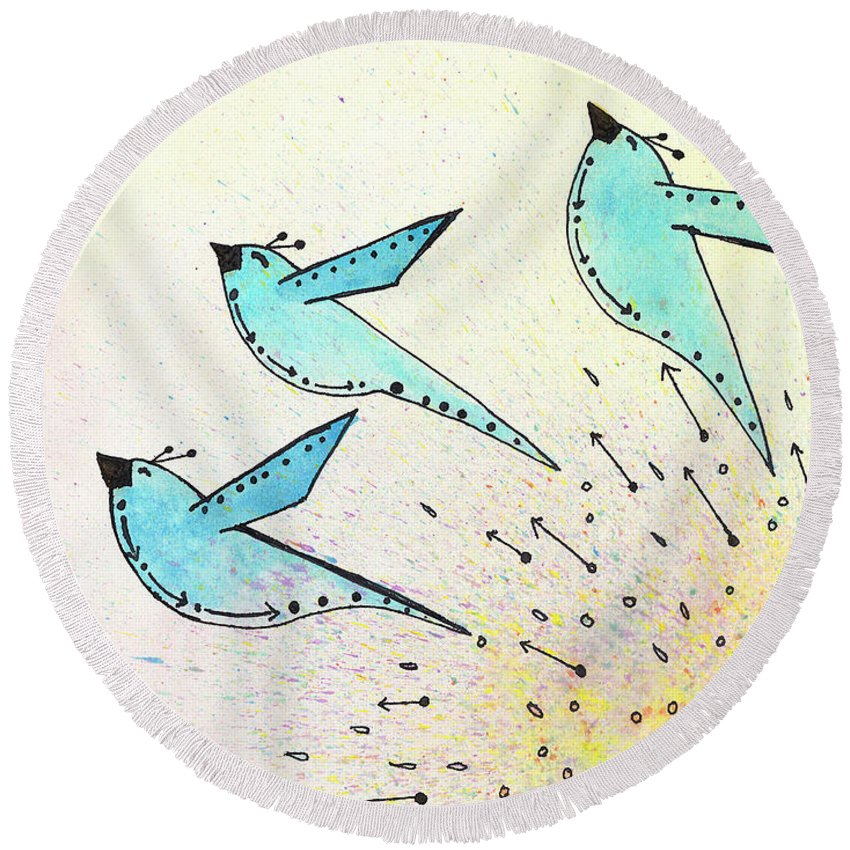 Blue Birds Round Beach Towel featuring the painting Blue Birds In Flight by Breanna Jacobs