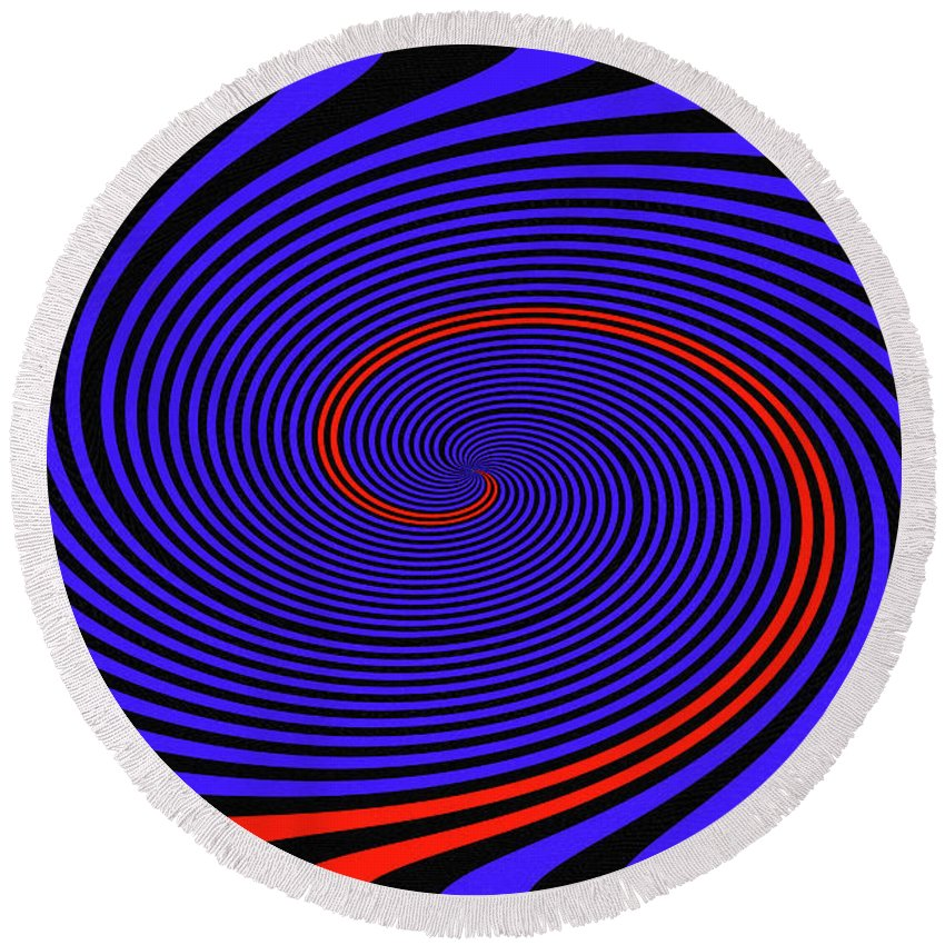 Blue Black And Red Twirl Abstract Round Beach Towel featuring the digital art Blue Black And Red Twirl Abstract by Tom Janca