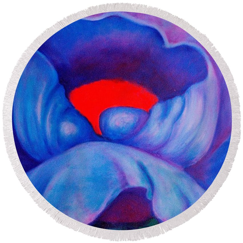 Blue Bloom Round Beach Towel featuring the painting Blue Bloom by Jordana Sands