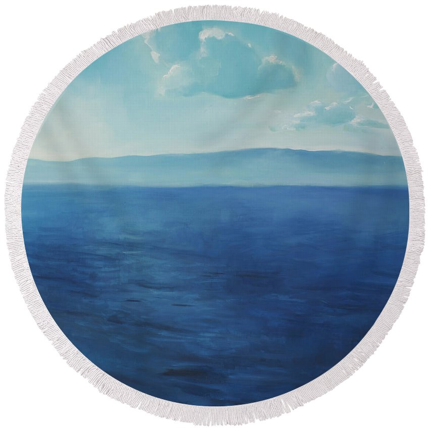 Lin Petershagen Round Beach Towel featuring the painting Blue Blue Sky Over The Sea by Lin Petershagen