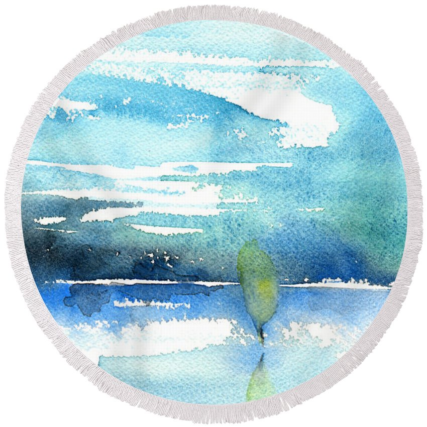Impressionism Round Beach Towel featuring the painting Blue Blue The World Is Blue by Miki De Goodaboom