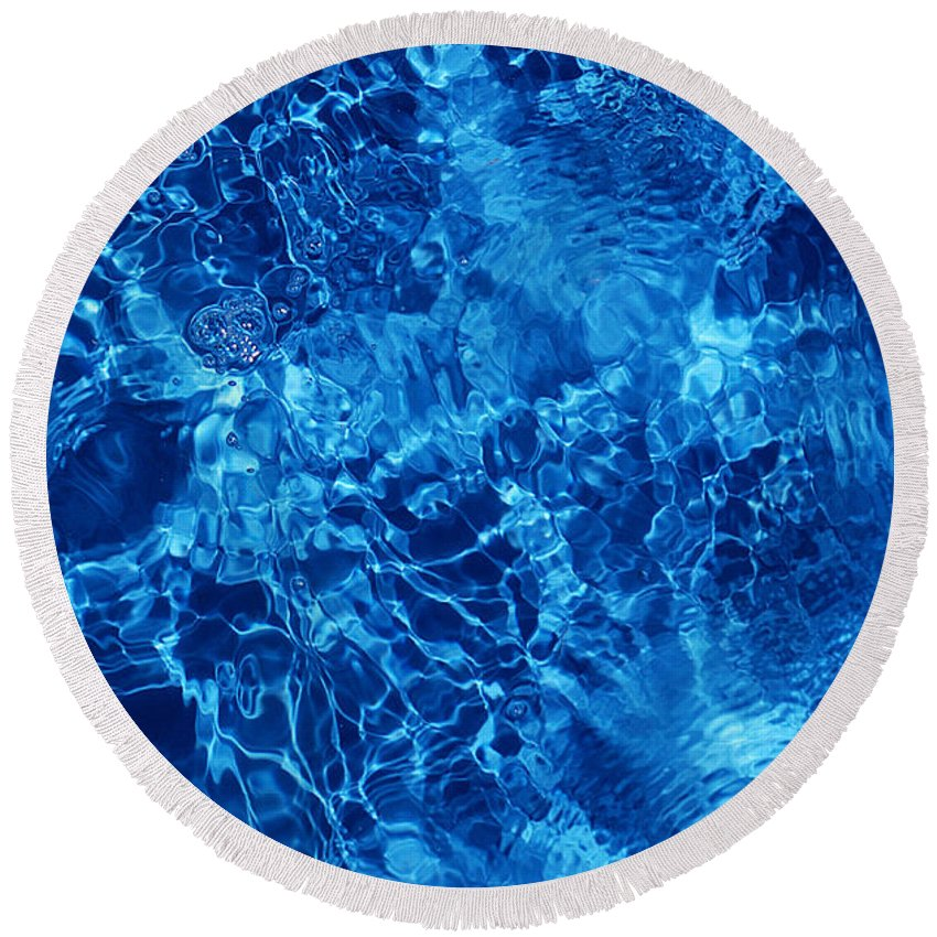 Water Round Beach Towel featuring the photograph Blue Blue Water by Jill Reger
