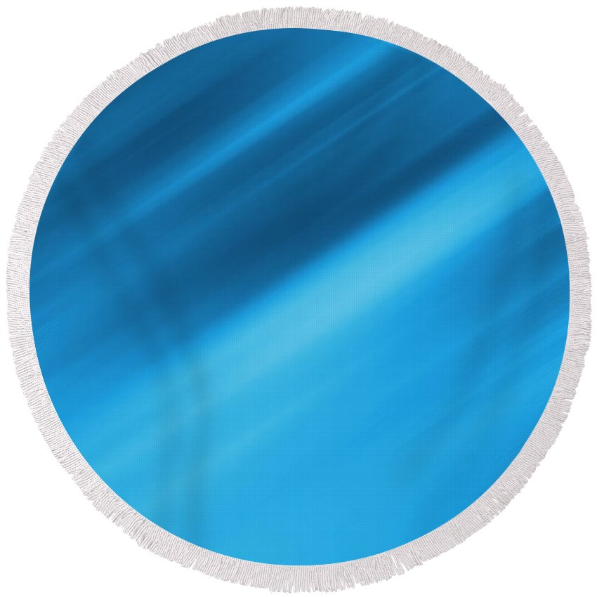Abstract Background Round Beach Towel featuring the digital art Blue Blur by Les Cunliffe