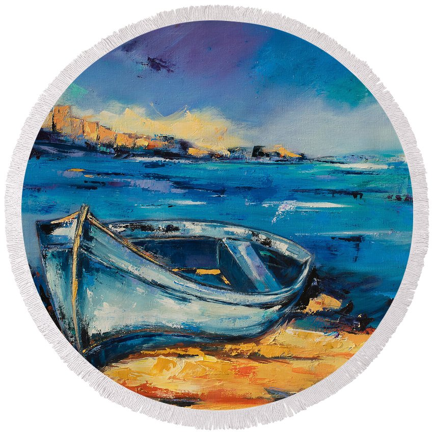 Boat Round Beach Towel featuring the painting Blue Boat On The Mediterranean Beach by Elise Palmigiani