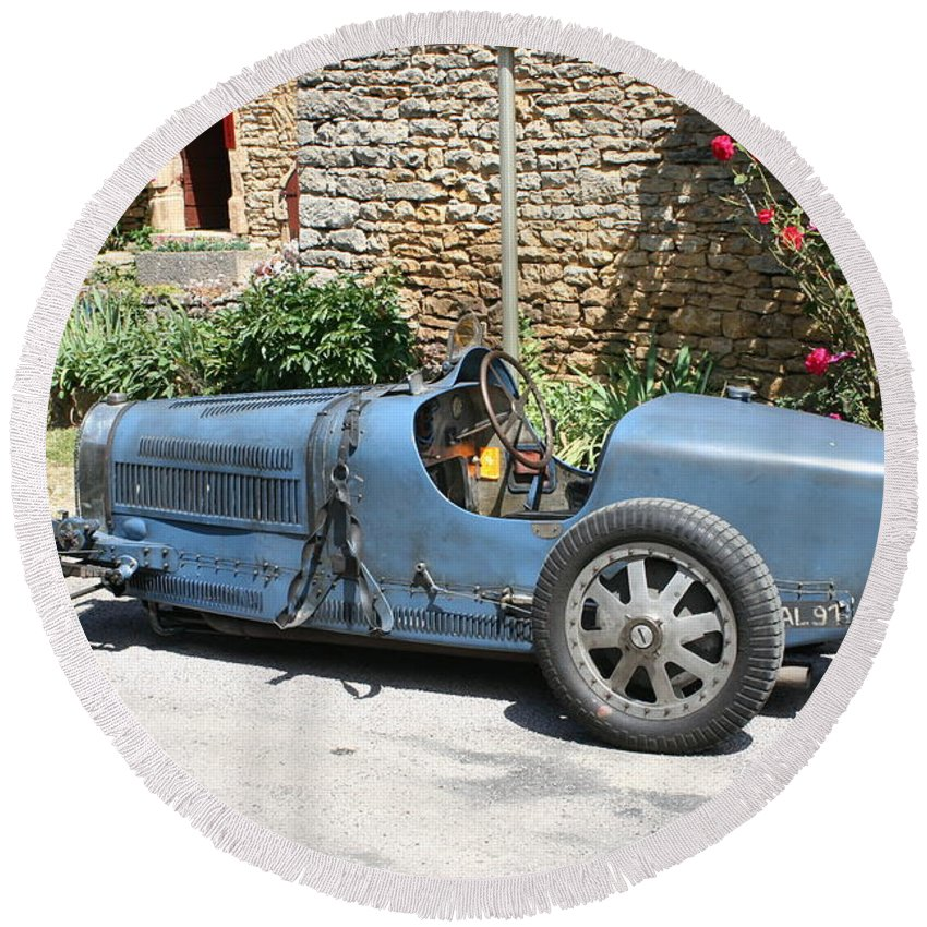 Oldtimer Round Beach Towel featuring the photograph Blue Bugatti Oldtimer by Christiane Schulze Art And Photography