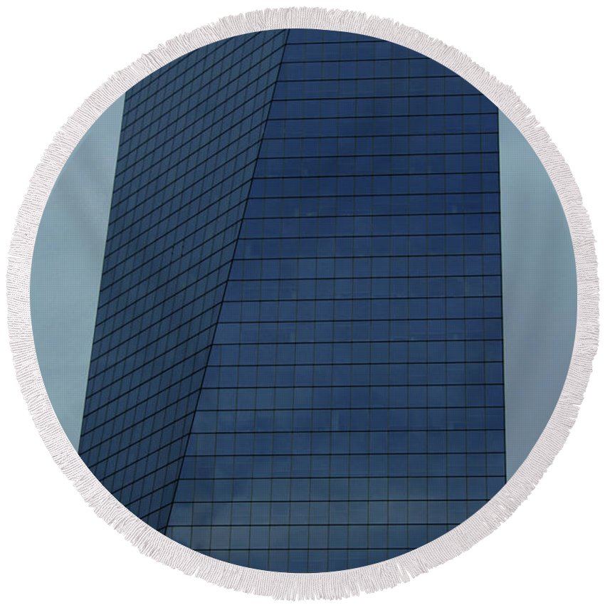 City Round Beach Towel featuring the photograph Blue Building by Linda Sannuti