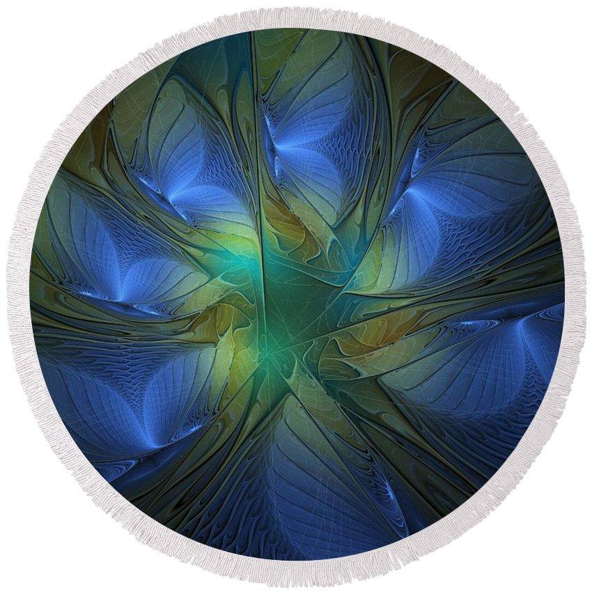 Digital Art Round Beach Towel featuring the digital art Blue Butterflies by Amanda Moore