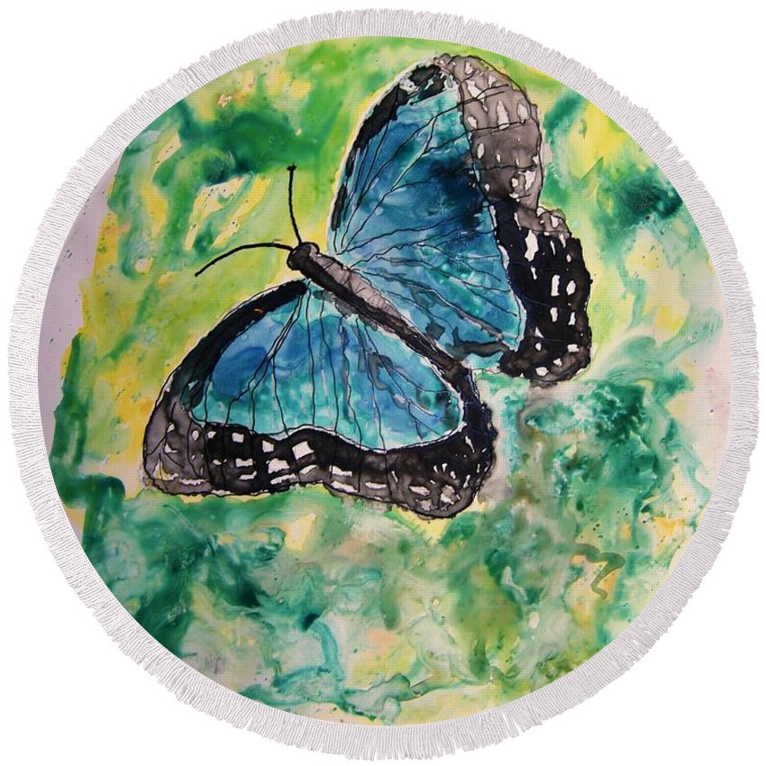 Wildlife Round Beach Towel featuring the painting Blue Butterfly by Derek Mccrea