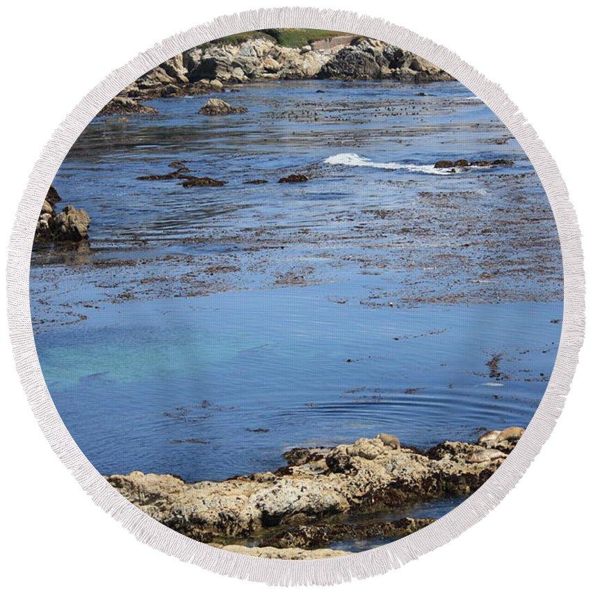 California Round Beach Towel featuring the photograph Blue California Bay by Carol Groenen