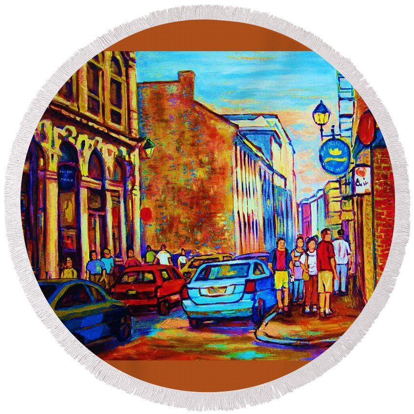 Montreal Round Beach Towel featuring the painting Blue Cars At The Resto Bar by Carole Spandau