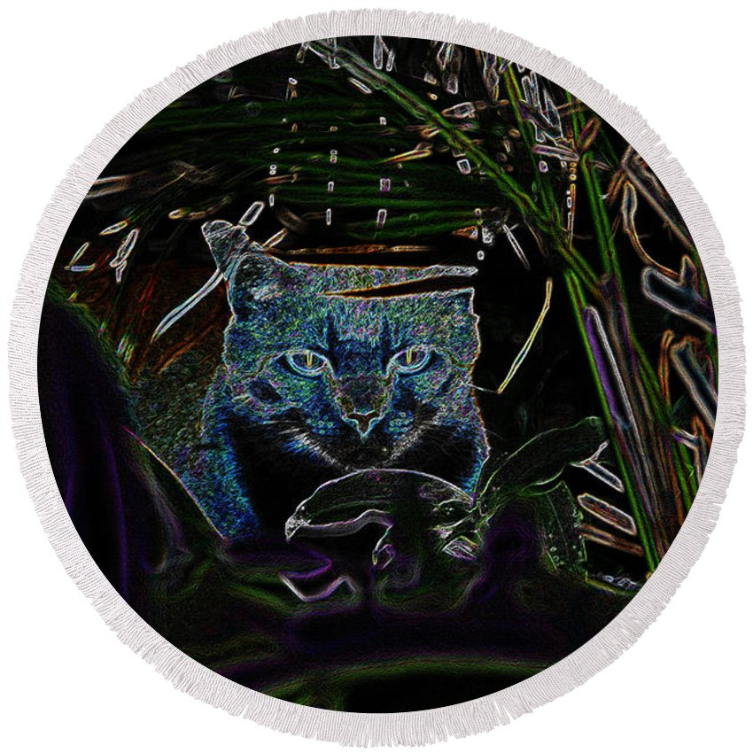 Art Round Beach Towel featuring the painting Blue Cat In The Garden by David Lee Thompson