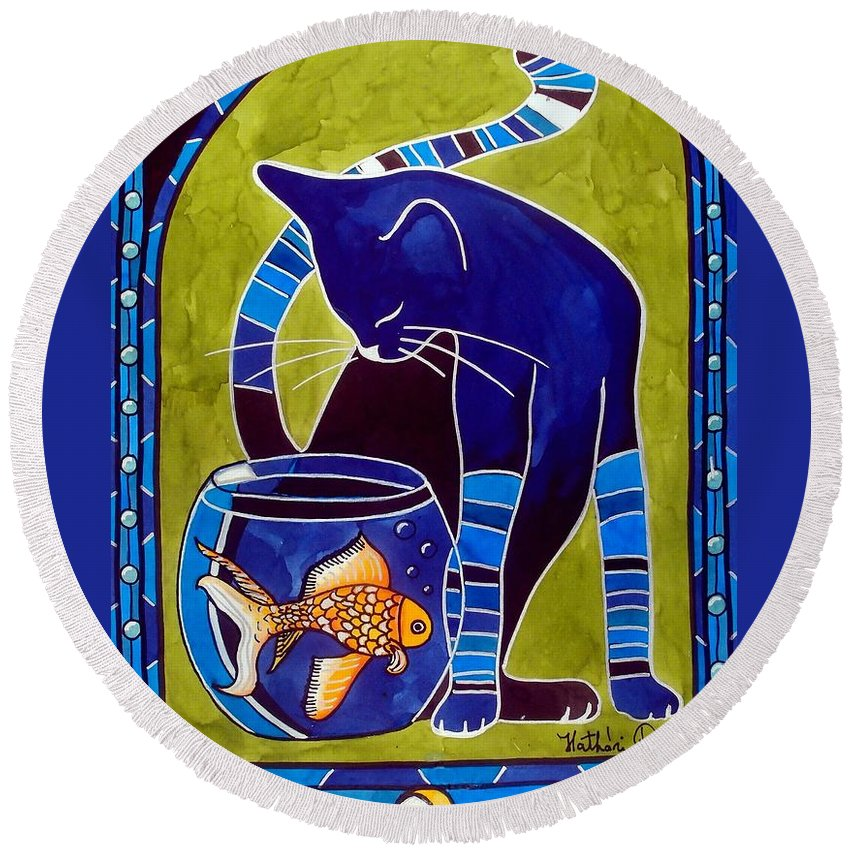 Cats Round Beach Towel featuring the painting Blue Cat With Goldfish by Dora Hathazi Mendes
