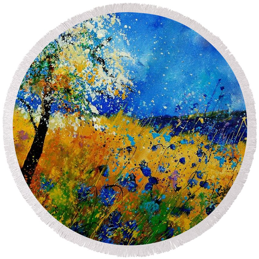 Poppies Round Beach Towel featuring the painting Blue Cornflowers 450108 by Pol Ledent