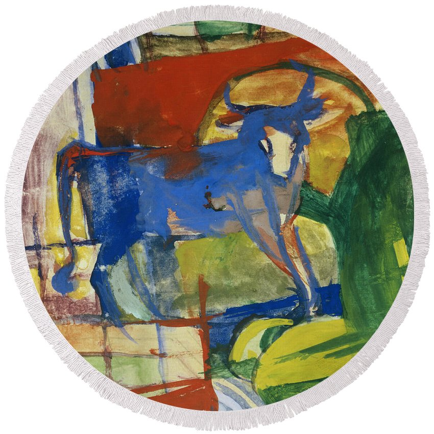 Blue Cow Round Beach Towel featuring the painting Blue Cow by Franz Marc