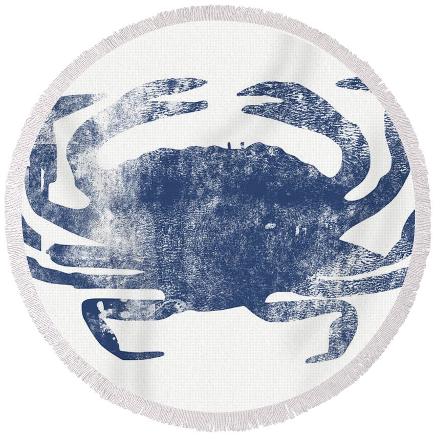 Crab Round Beach Towel featuring the painting Blue Crab- Art By Linda Woods by Linda Woods