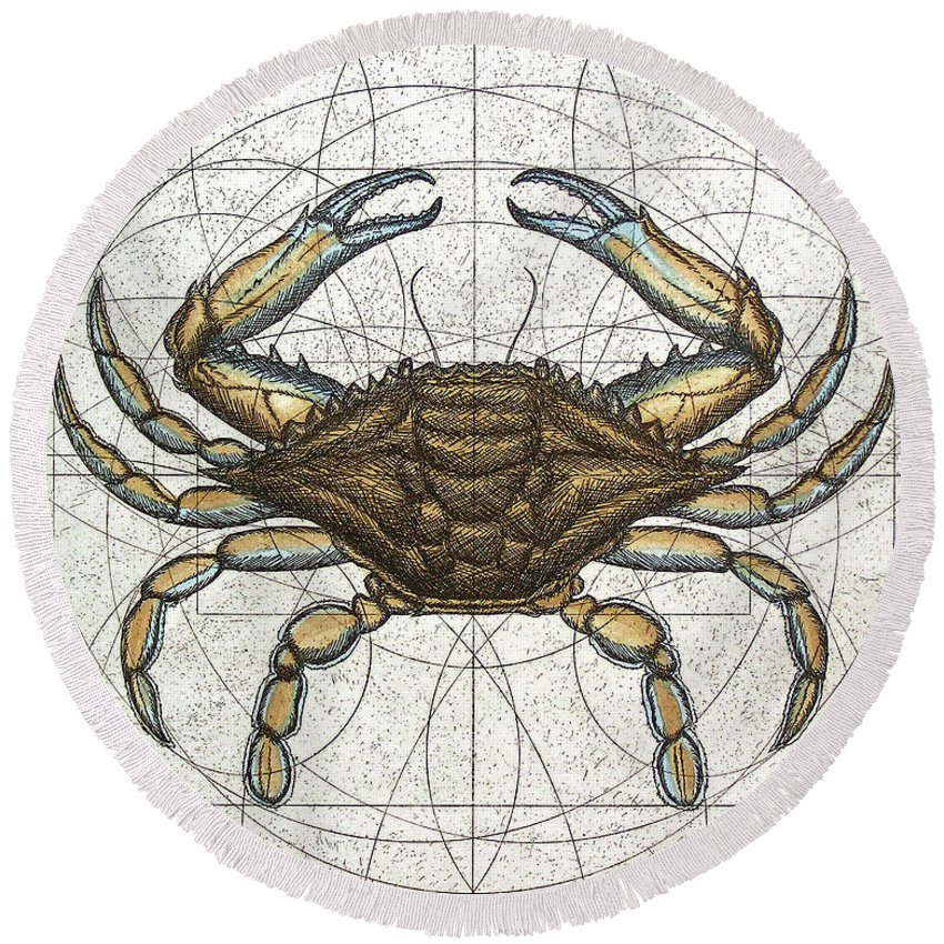 Maryland Round Beach Towel featuring the painting Blue Crab by Charles Harden