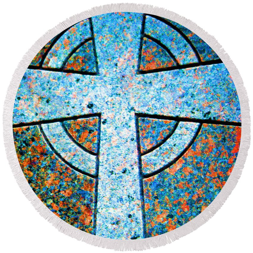 Cross Round Beach Towel featuring the digital art Blue Marbled Cross by April Patterson
