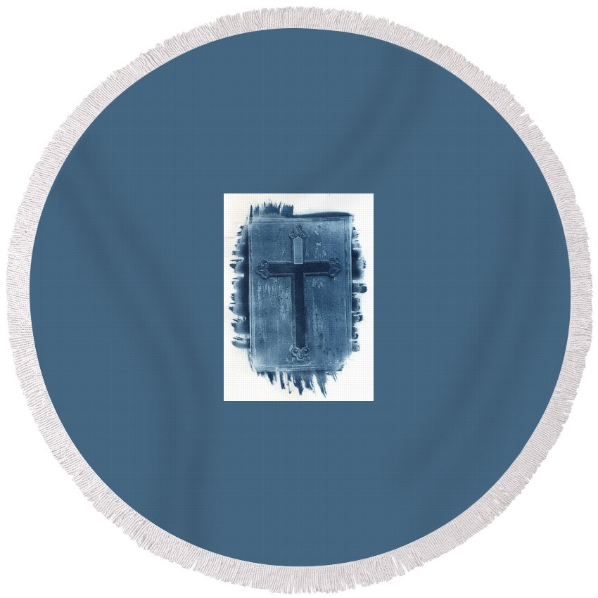 Cyanotype Round Beach Towel featuring the photograph Blue Cross by Jane Linders