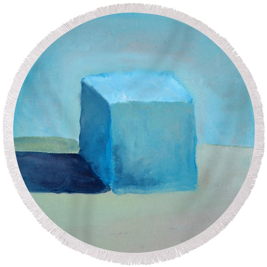 Blue Round Beach Towel featuring the painting Blue Cube Still Life by Michelle Calkins