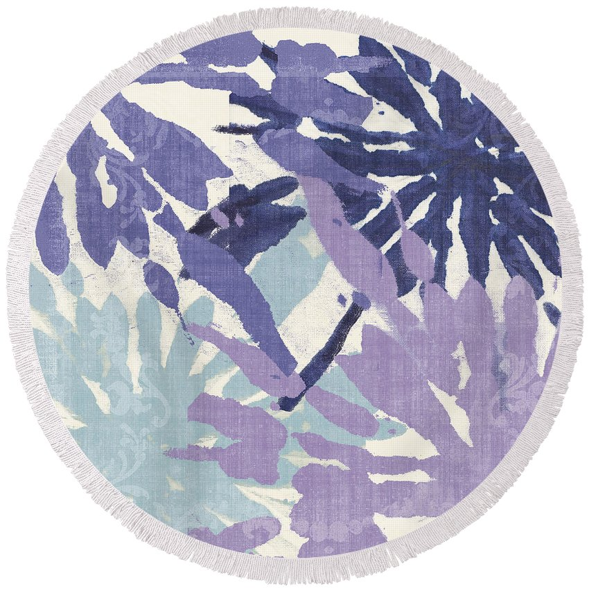 Ikat Round Beach Towel featuring the painting Blue Curry II by Mindy Sommers