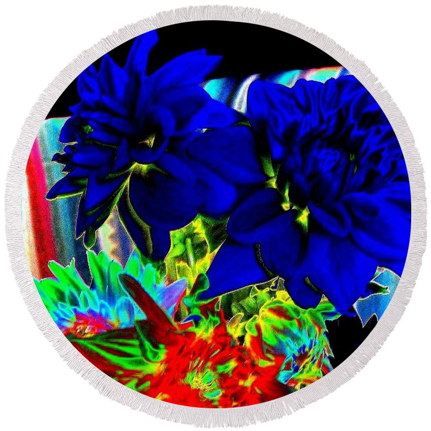 Abstract Round Beach Towel featuring the digital art Blue Dahlias by Will Borden