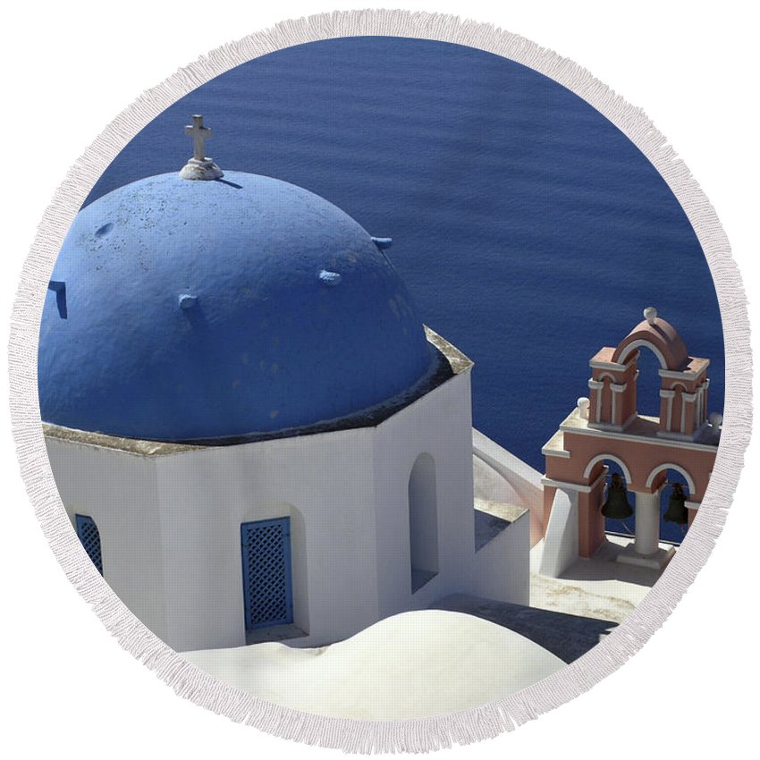 Greek Orthodox Church Round Beach Towel featuring the photograph Blue Dome Pink Bell Tower by Sally Weigand