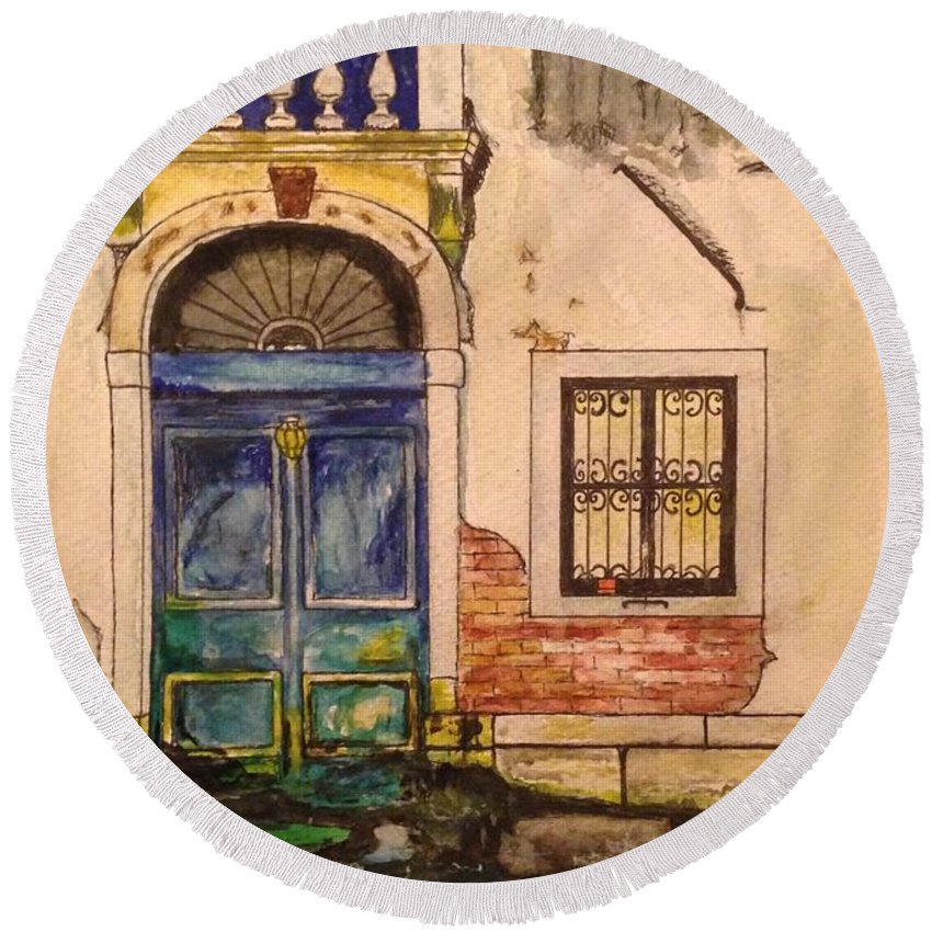Venice Round Beach Towel featuring the painting Blue Door Venice by Lauren Ullrich