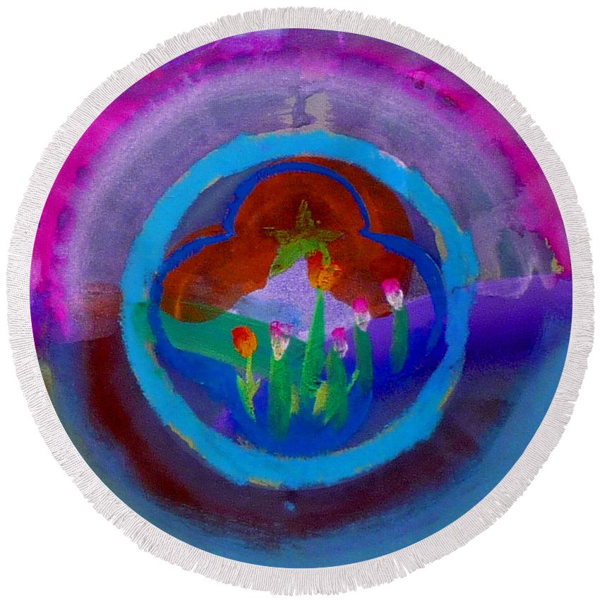 Love Round Beach Towel featuring the painting Blue Embrace by Charles Stuart
