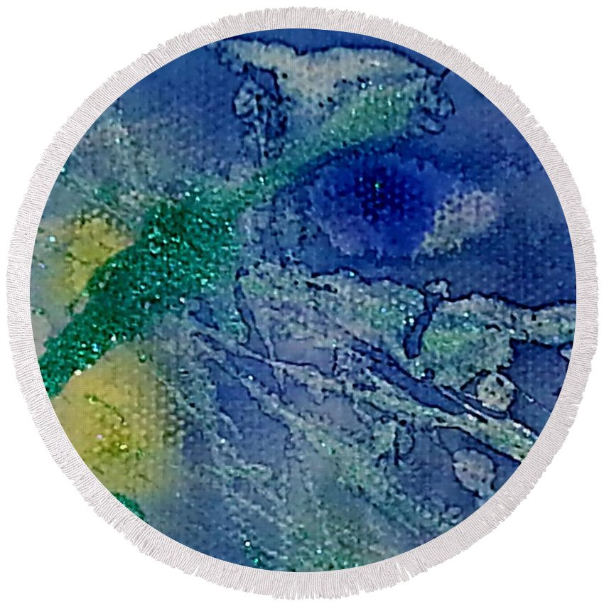 Blue Round Beach Towel featuring the painting Blue Eye by Jan Pellizzer