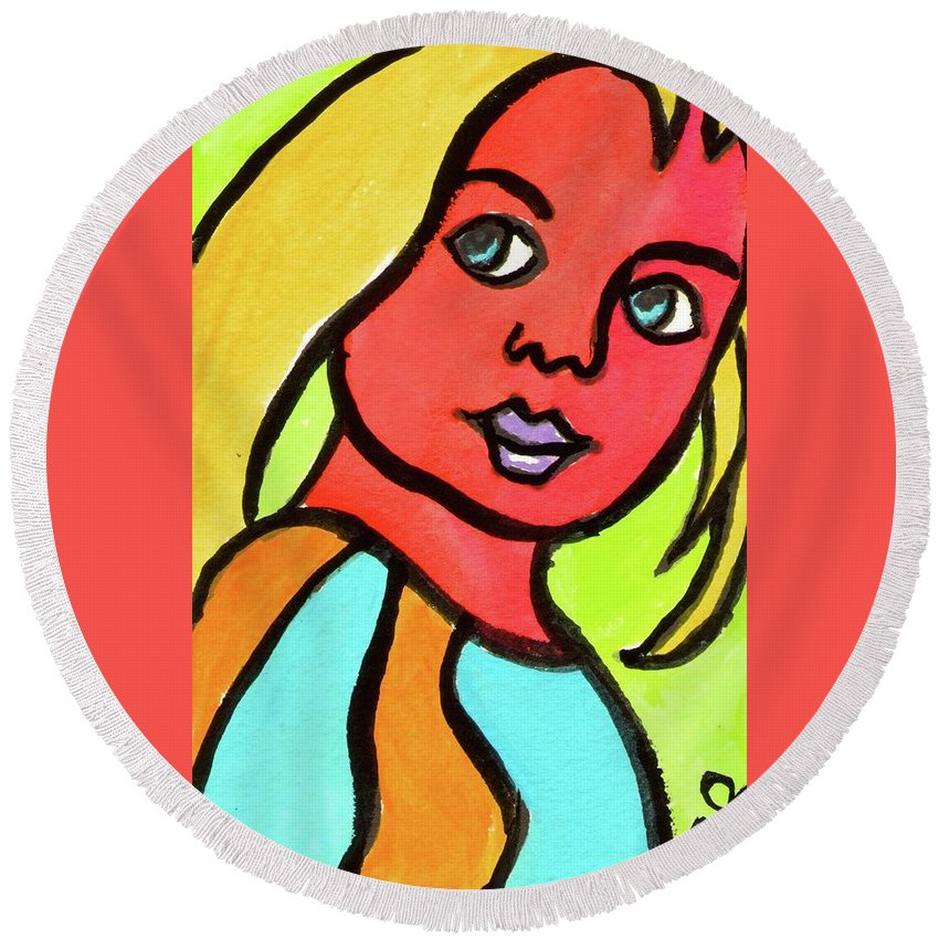 Girl Round Beach Towel featuring the painting Blue Eyed Blonde by Daniel Grant