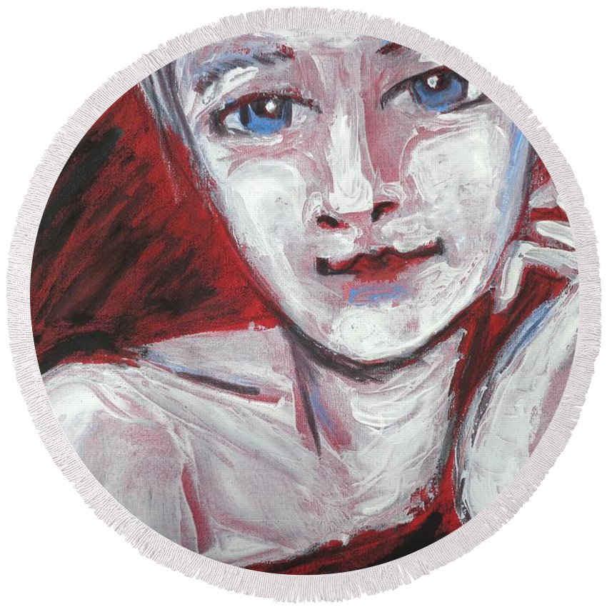 Blue Eyes Round Beach Towel featuring the painting Blue Eyes - Portrait Of A Woman by Carmen Tyrrell