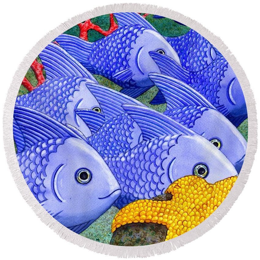Fish Round Beach Towel featuring the painting Blue Fish by Catherine G McElroy
