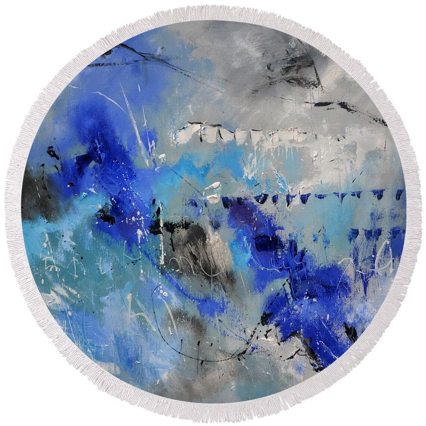 Abstract Round Beach Towel featuring the painting Blue Flight Abstract by Pol Ledent