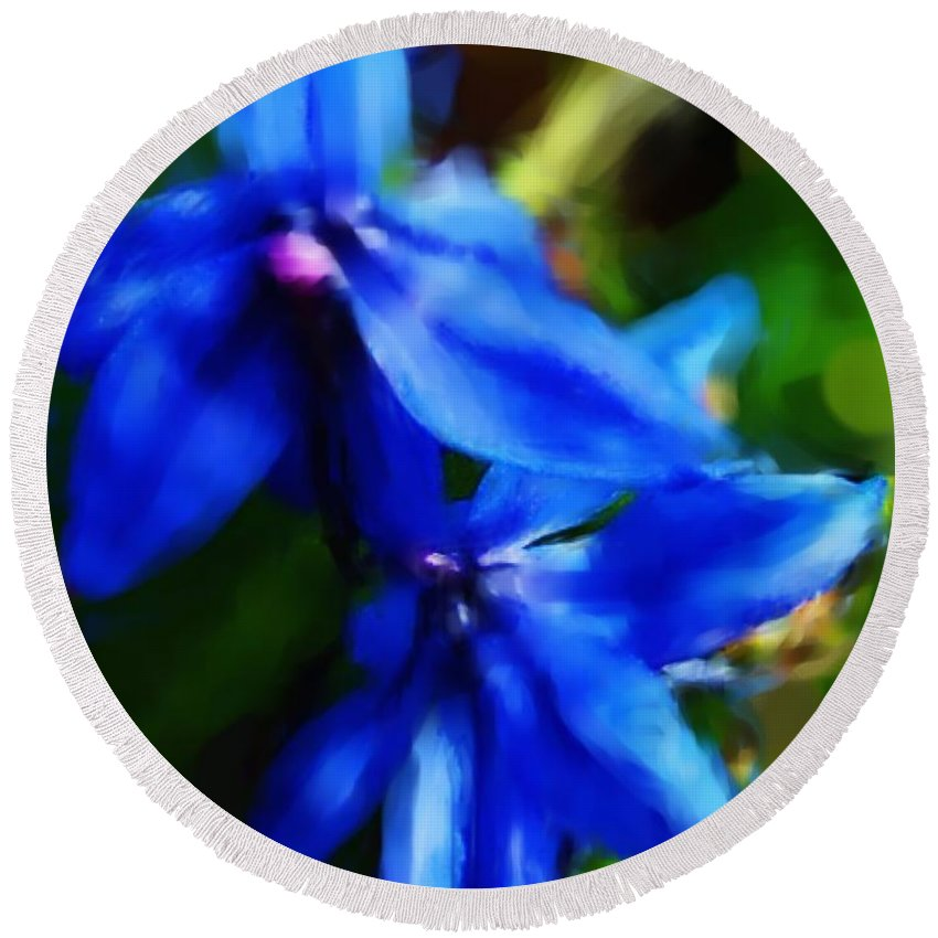 Digital Photograph Round Beach Towel featuring the photograph Blue Flower 10-30-09 by David Lane