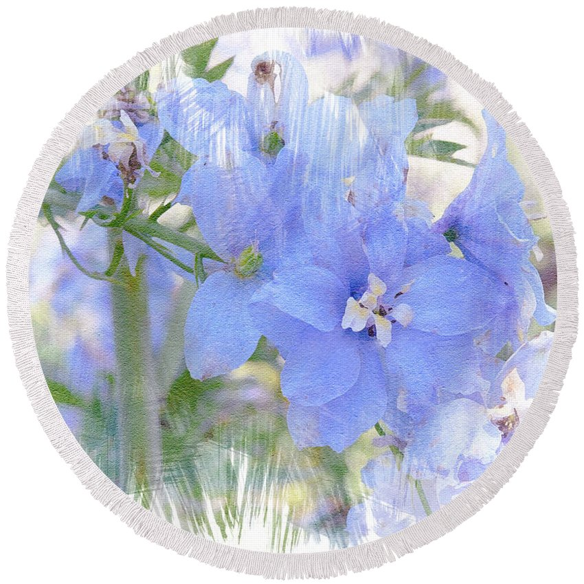 Blue Round Beach Towel featuring the photograph Blue Flower Fantasy by Michele A Loftus