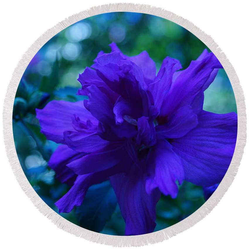 Flowers Round Beach Towel featuring the photograph Blue Flower by Jeffery L Bowers
