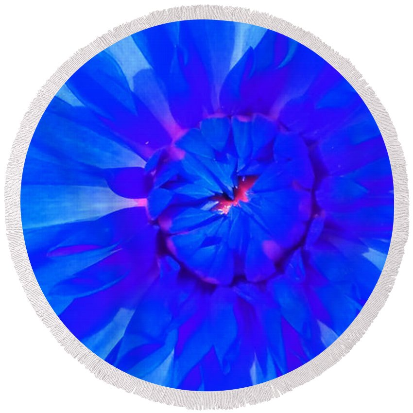 Blue Round Beach Towel featuring the photograph Blue Flower by Nick Photography