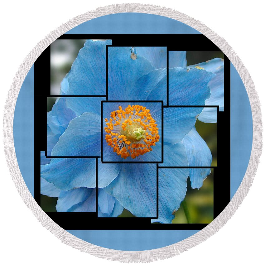 Blue Round Beach Towel featuring the sculpture Blue Flower Photo Sculpture Butchart Gardens Victoria Bc Canada by Michael Bessler