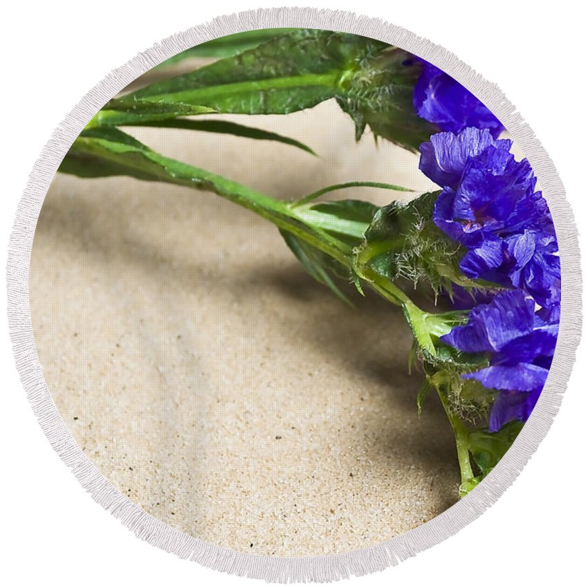 Blue Round Beach Towel featuring the photograph Blue Flower by Svetlana Sewell